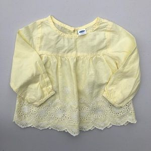 Old Navy | floral embroidered yellow blouse top